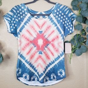 Gaze Tie Dye USA Short Sleeve Blouse Small NWT